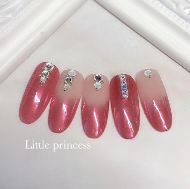 ピンクミラーネイル