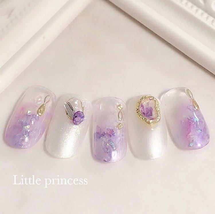 紫陽花をイメージしたニュアンスネイル💠